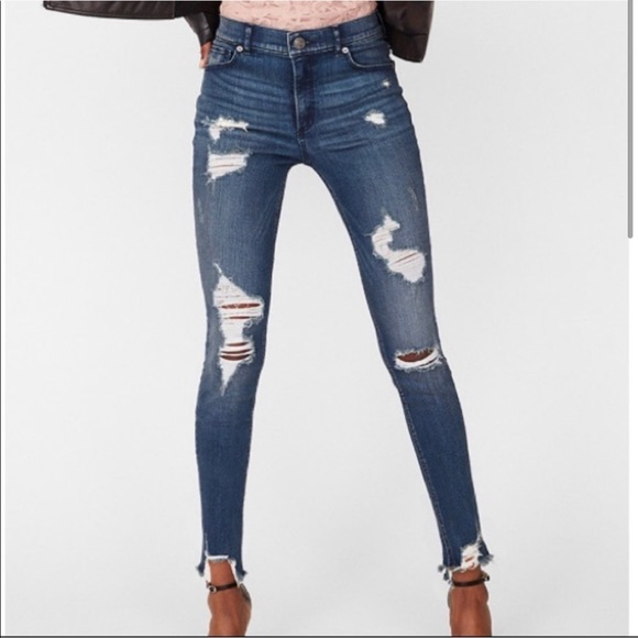 Express Denim - High waisted distressed skinny ankle jean 00S